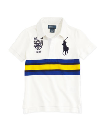 Rugby-Collar Big Pony Polo, White, Boys' 4-7