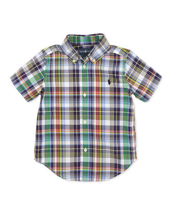 Blake Plaid Short-Sleeve Shirt, Navy, Boys' 4-7
