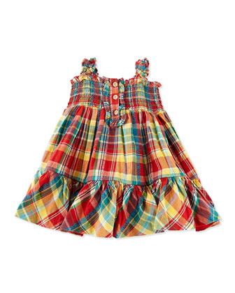 Smocked Madras-Plaid Dress, Red, 3-12 Months