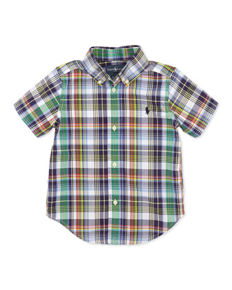 Blake Plaid Short-Sleeve Shirt, Navy, Boys' 2T-3T