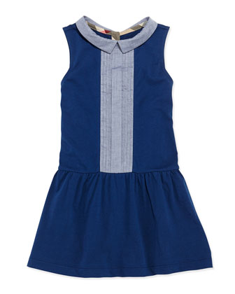 Pintuck-Front Cotton Dress, Blue, Girls' 4Y-10Y
