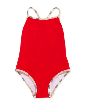 Check-Trim One-Piece Swimsuit, Red, 4Y-10Y