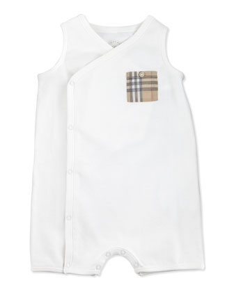 Sleeveless Check-Pocket Playsuit, White, 3-24 Months