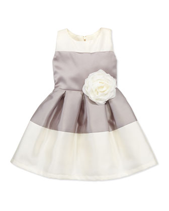 Classy Lassie Two-Tone Box-Pleat Dress, Silver, Sizes 8-10