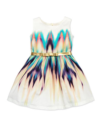 Dip-Dye Delight Ikat Party Dress, Multi, Sizes 2-6