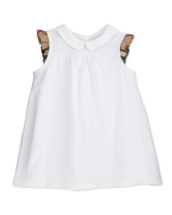 Flutter-Check-Sleeve Dress, White, 3M-2Y