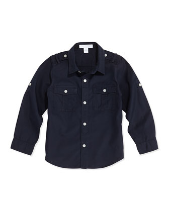 Military Button-Down Shirt, Navy, 4Y-10Y