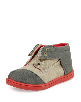 Colorblock Canvas Botas Shoes, Med Gray, Tiny