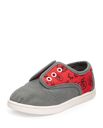 Cordones Bike-Print Slip-On, Gray/Red, Tiny