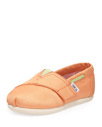 Grosgrain Bimini Boat Shoe, Peach, Tiny