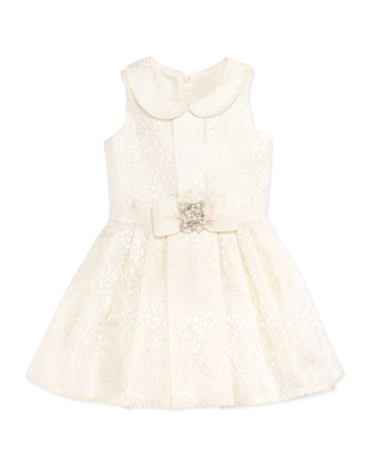 Brocade Party Dress, Ivory, Sizes 8-10