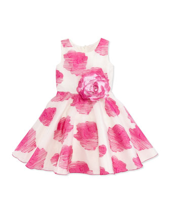 Rose-Print Organza Dress, Pink, Sizes 8-10