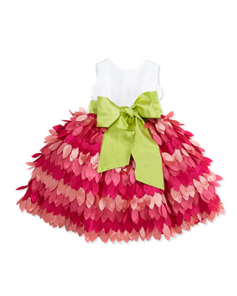 Taffeta & Leaf Skirt Dress, Fuchsia, Toddler Girls' 2T-3T
