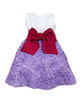 Colorblock Soutache-Skirt Dress, Lilac, Girls' 4-6X