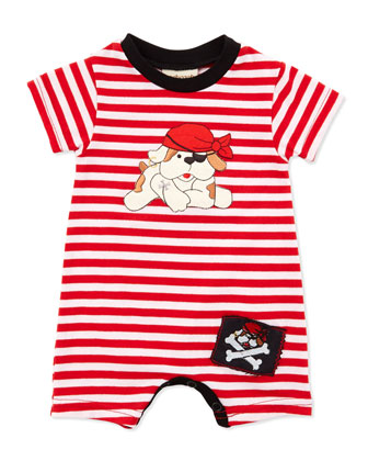 Pirate-Dog Striped Bodysuit, Red, 3-9 Months