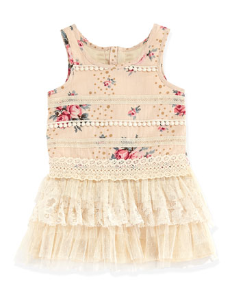Lace-Trimmed Rose-Print Dress, Pink, Toddler Girls' 2T-3T
