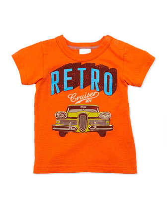 Retro Car-Print Tee, Orange, 2T-8Y