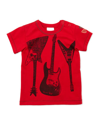 3-Guitars Printed Tee, Red, 2T-8Y