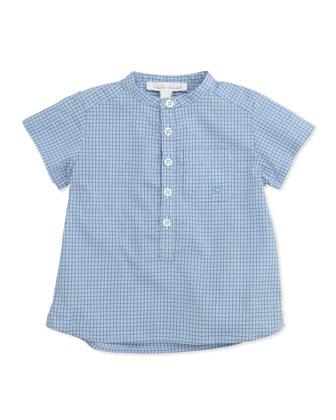 Check Collarless Poplin Shirt, Blue, 6-24 Months