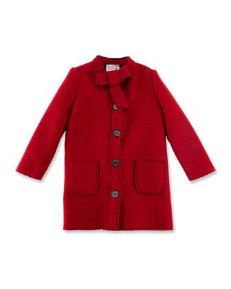 Bow-Collar Long Jacket, Sizes 4-6