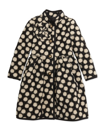 Polka-Dot Wool-Blend Coat, Size 6