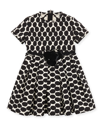 Polka-Dot Twill Dress, Black, Sizes 4-6