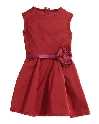 Rosette-Detailed Fit-and-Flare Dress, Dark Red, Sizes 8-12