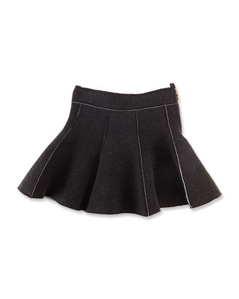 Tweed Sport Skirt, Black/White, Girls' 8-12