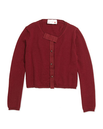 Grosgrain-Bow Knit Cardigan, Sizes 8-12