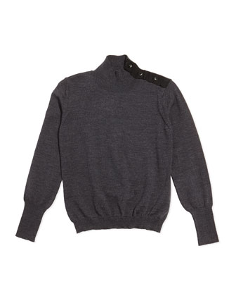 Mock-Neck Wool Sweater, Gray, Sizes 8-12