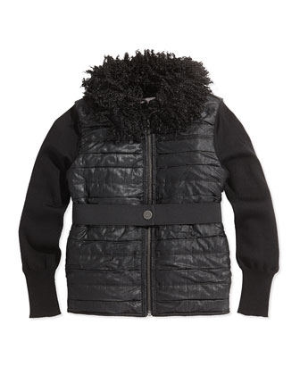 Faux-Fur Collar Puffer Vest, Black, Sizes 8-12