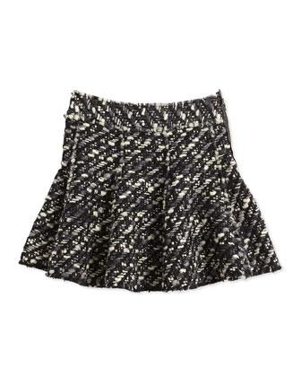 Tweed Skirt, Black/White, Girls' 10-12
