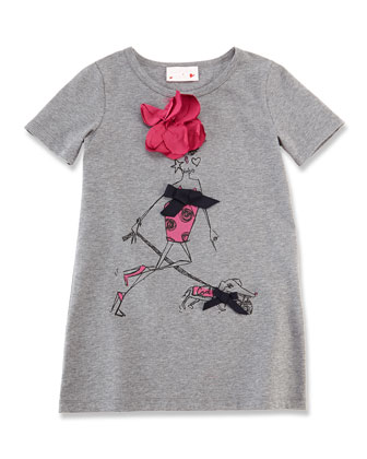 Girls' Printed Wool Tee, Light Gray, Size 6