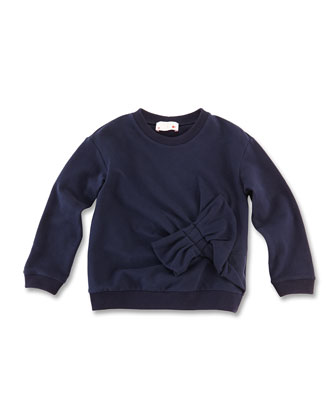 Bow-Detail Wool Sweatshirt, Blue, Girls' 8-12