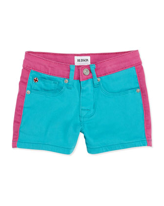 Leeloo Colorblock Denim Shorts, Blue, Girls' 4-6X
