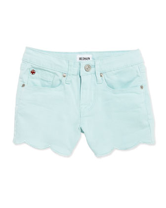Scalloped Hem Denim Shorts, Blue, Girls' 4-6X