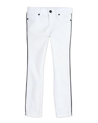 Girls' Piped Jean Leggings, White