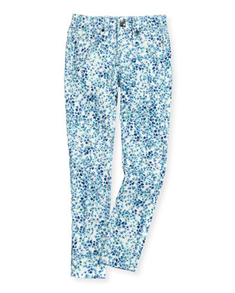 Floral Jean Leggings, Blue, Girls' 7-14