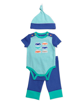 Car-Print Playsuit, Leggings and Hat Set, Blue/Green
