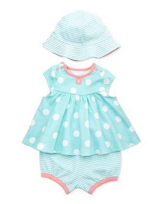 3-Piece Dot Dress, Diaper Cover & Hat Set, Aqua