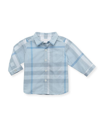 Check Long-Sleeve Shirt, Light Blue, 12 Months
