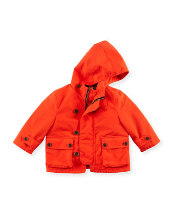Hooded Twill Jacket, Coral, 6M-2Y