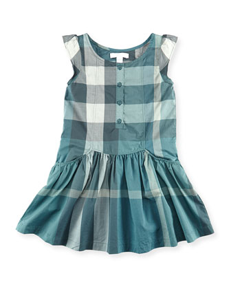 Check Flutter-Sleeve Dress, Green, Girls' 6Y