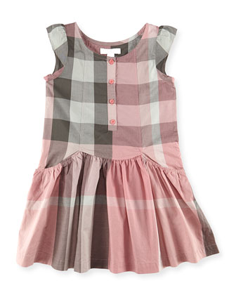 Check Flutter-Sleeve Dress, Light Pink, Girls' 6Y