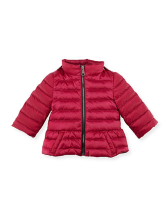 Shiny Nylon Puffer Coat, Pink, 6-24 Months