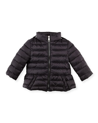Shiny Nylon Puffer Coat, Black, 6-24 Months