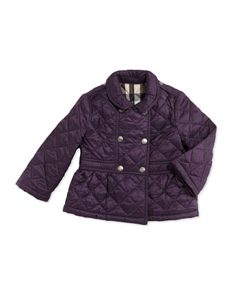 Girls' Quilted Double-Breasted Coat, Wine, 6M-2Y
