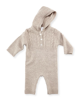 Knitted Cashmere Playsuit, Gray, 3-18 Months