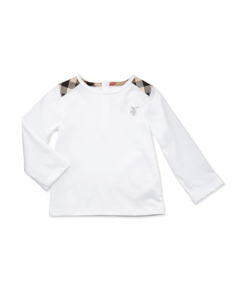 Check-Shoulder Long-Sleeve Tee, White, 3-18 Months