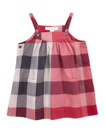 Check Cotton Sleeveless Dress, Pink, 3M-3Y
